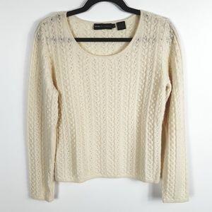 Dana Buchman 100% Cashmere Cable Knit Sweater